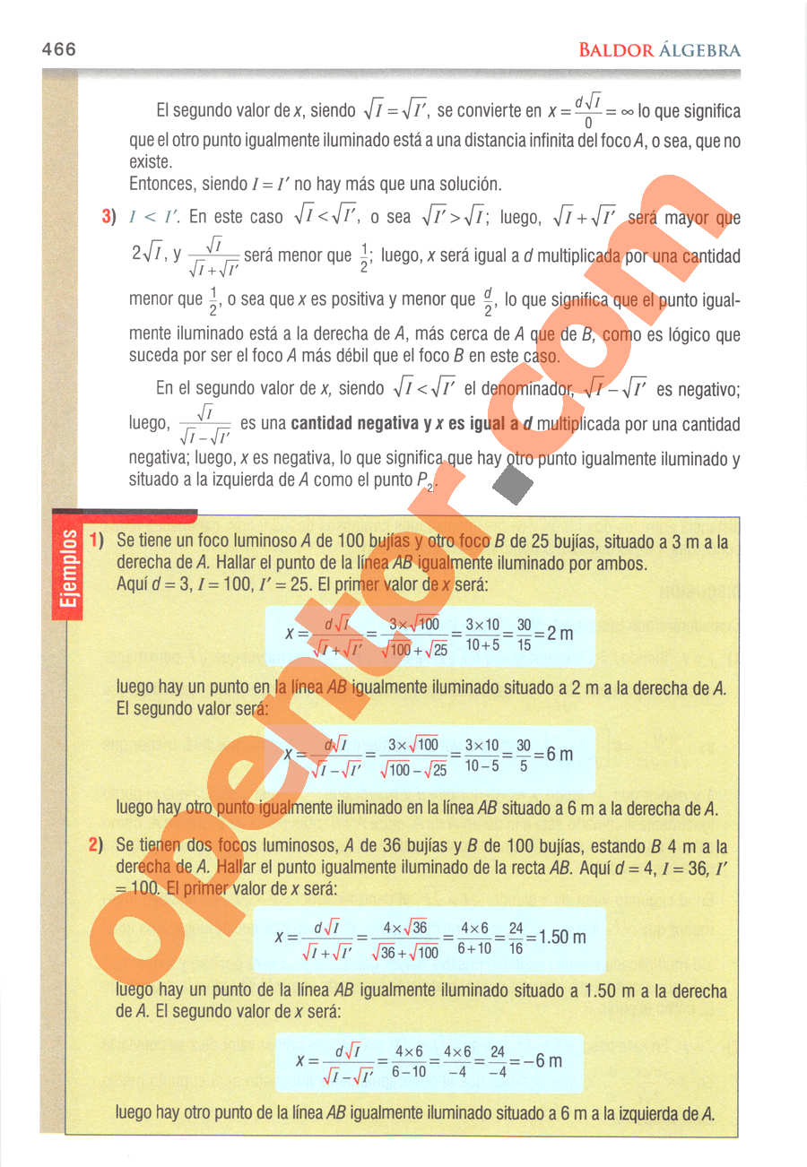 Álgebra de Baldor - Página 466