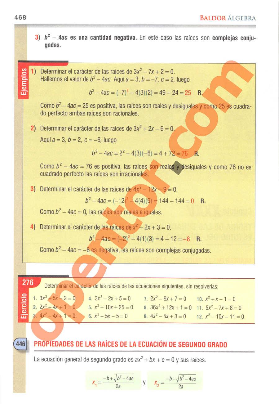 Álgebra de Baldor - Página 468