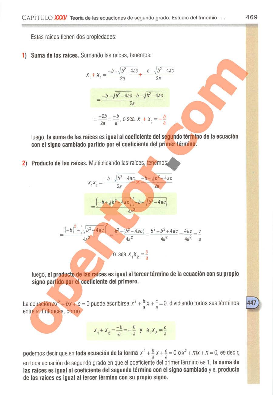 Álgebra de Baldor - Página 469