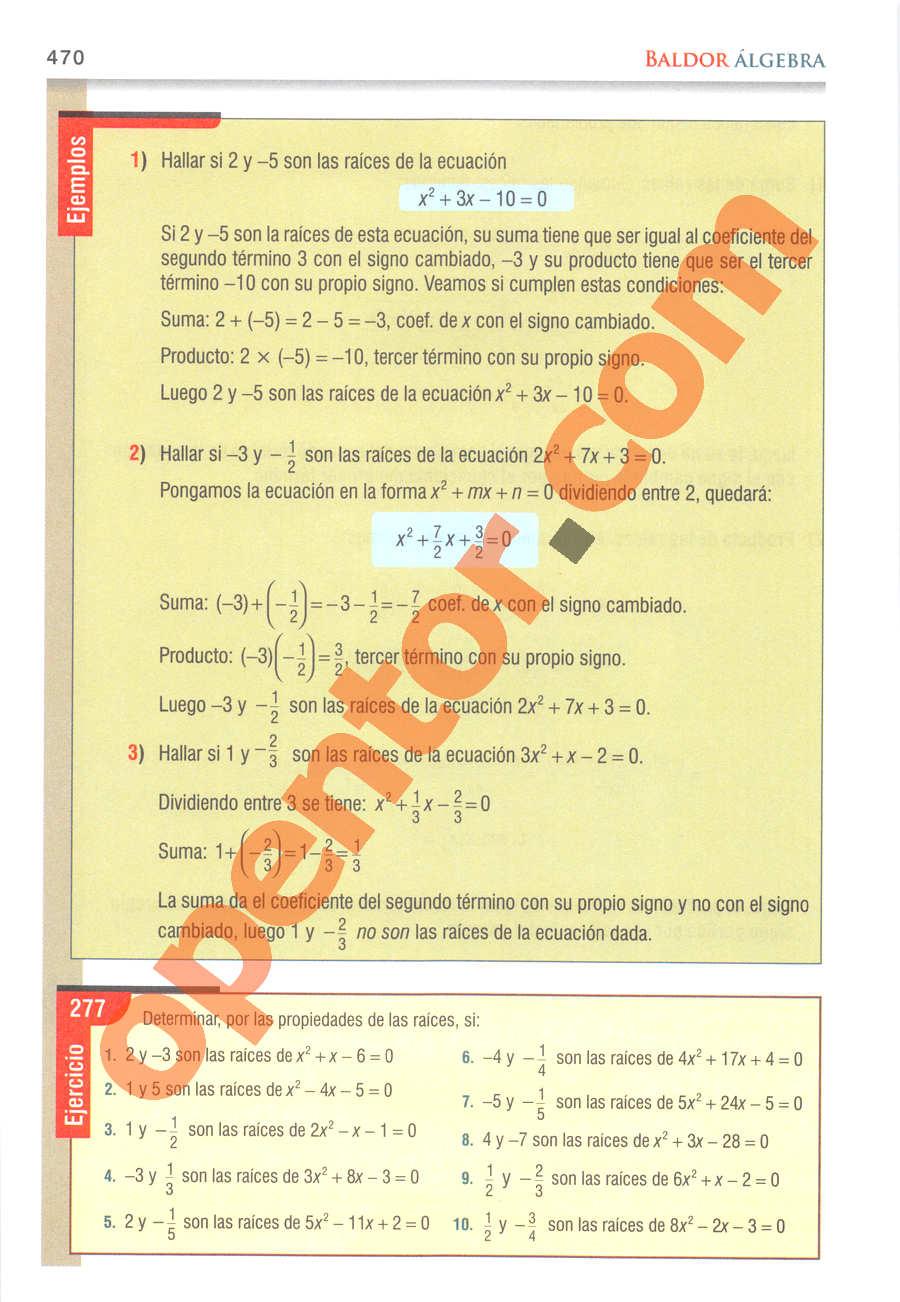 Álgebra de Baldor - Página 470