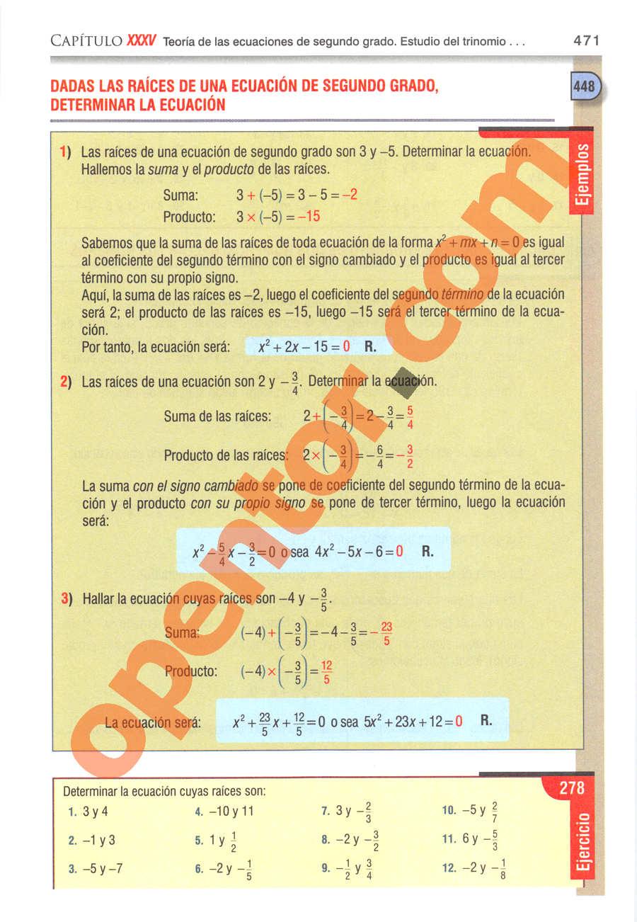 Álgebra de Baldor - Página 471