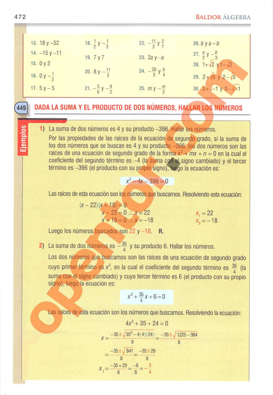 Álgebra de Baldor - Página 472