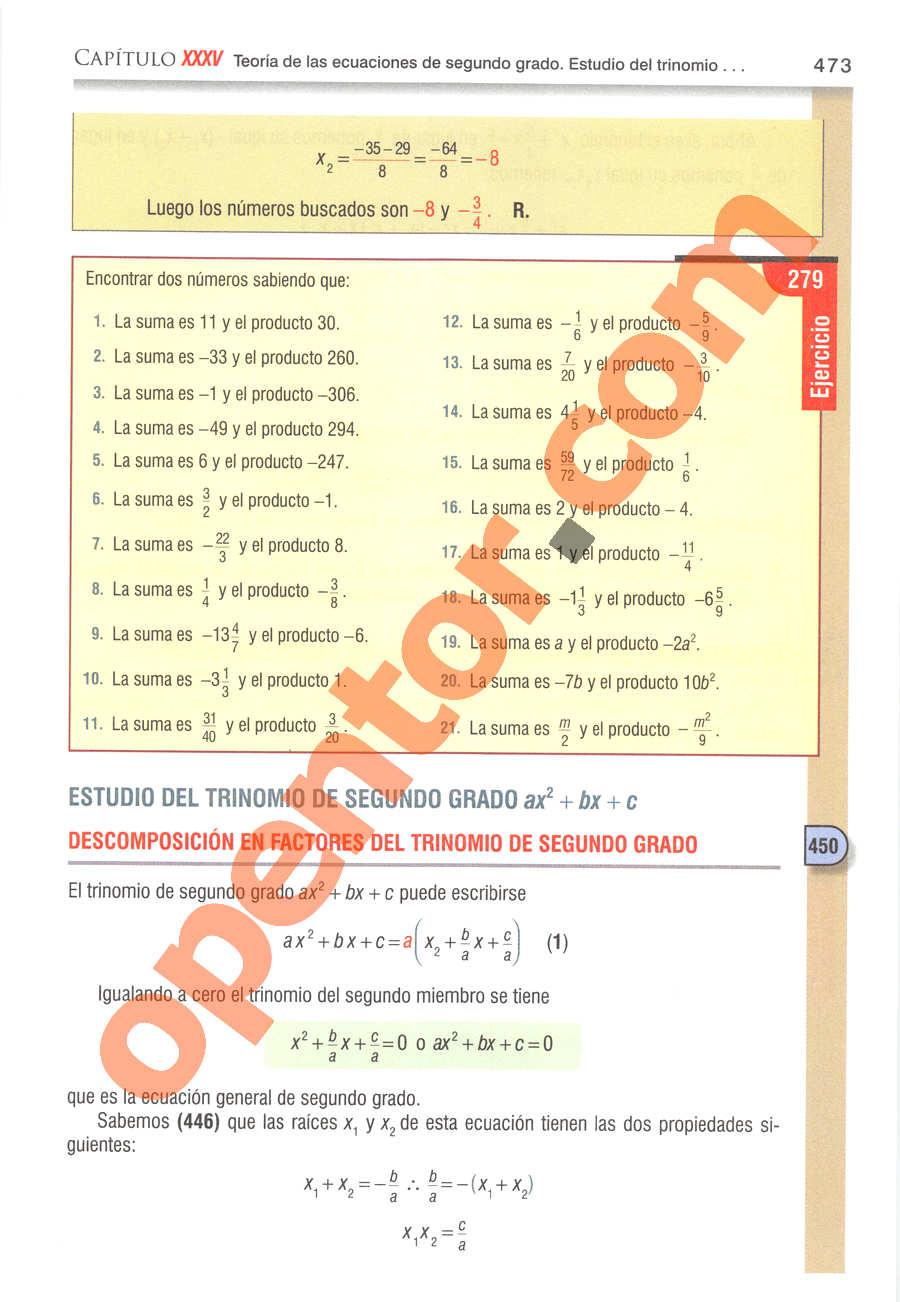 Álgebra de Baldor - Página 473