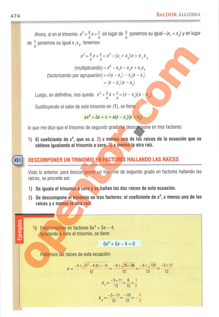 Álgebra de Baldor - Página 474