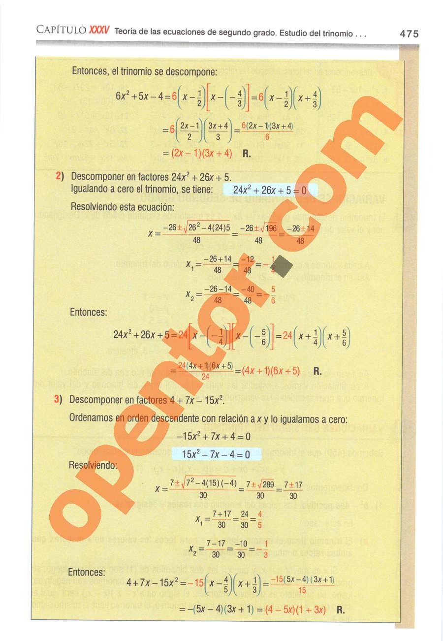 Álgebra de Baldor - Página 475