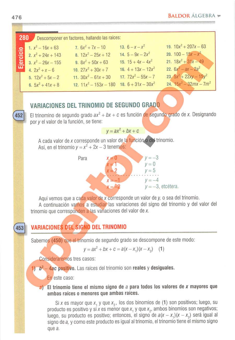 Álgebra de Baldor - Página 476