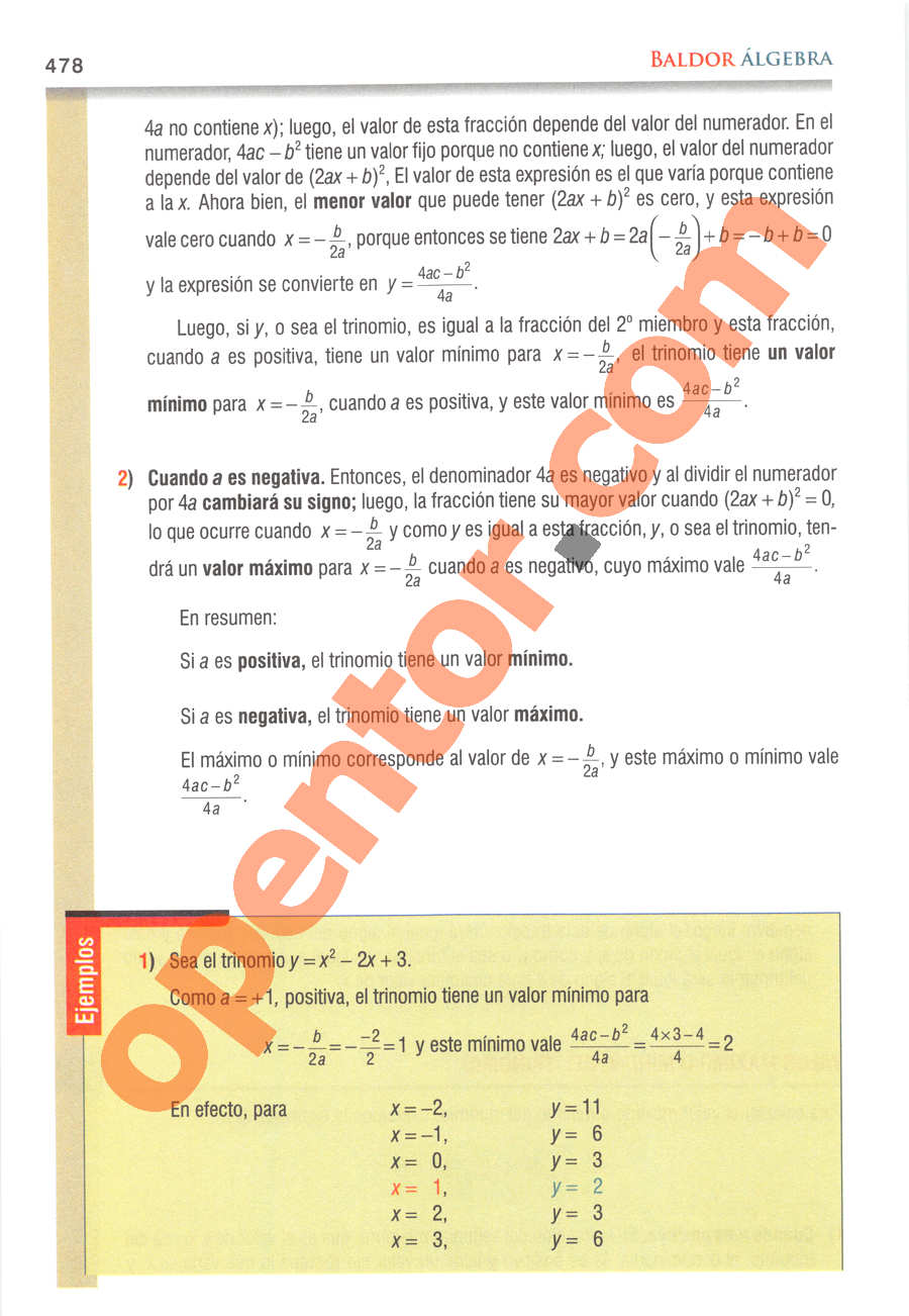 Álgebra de Baldor - Página 478
