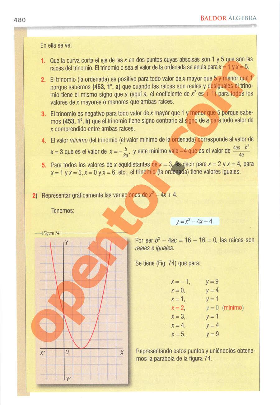 Álgebra de Baldor - Página 480