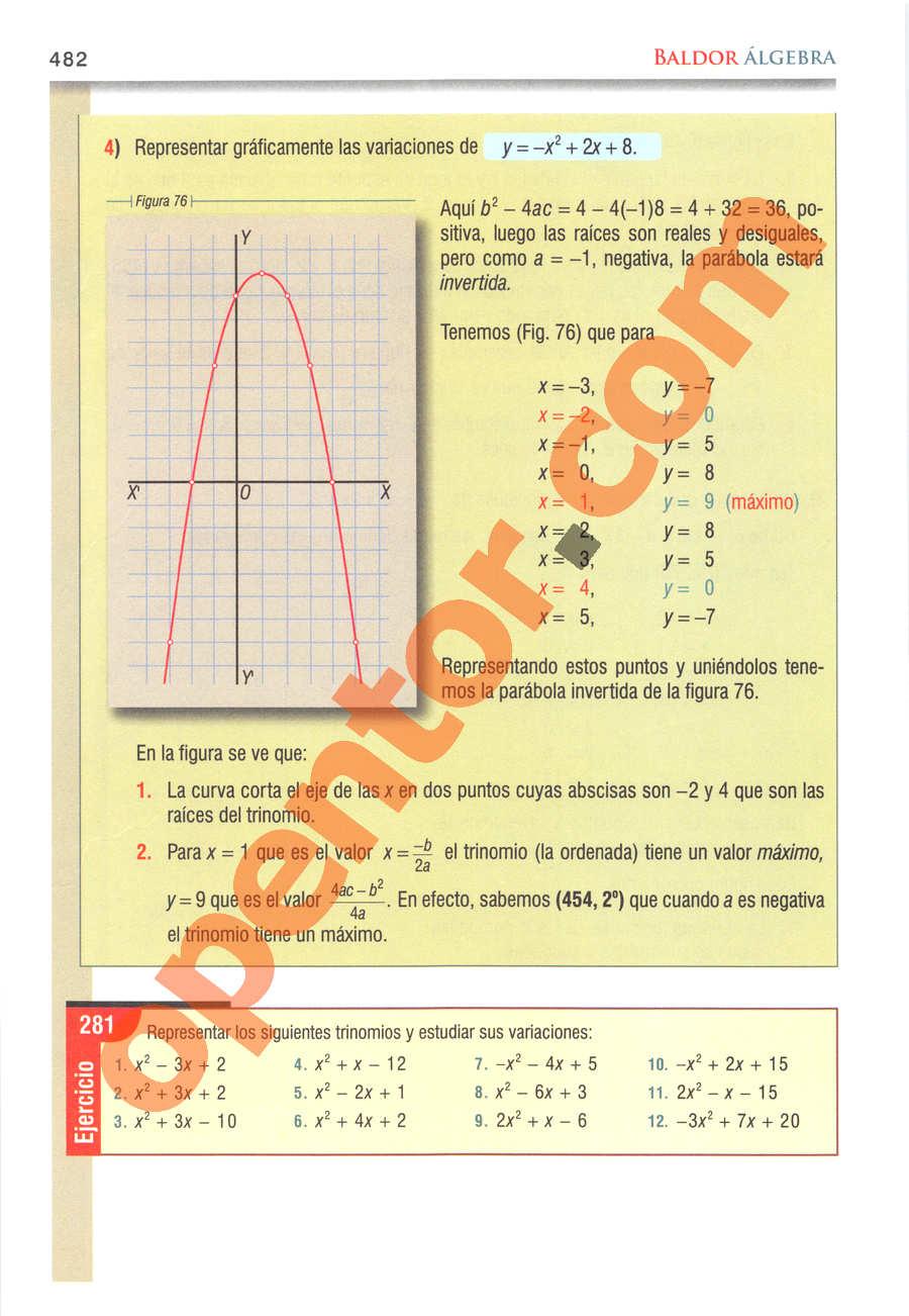 Álgebra de Baldor - Página 482