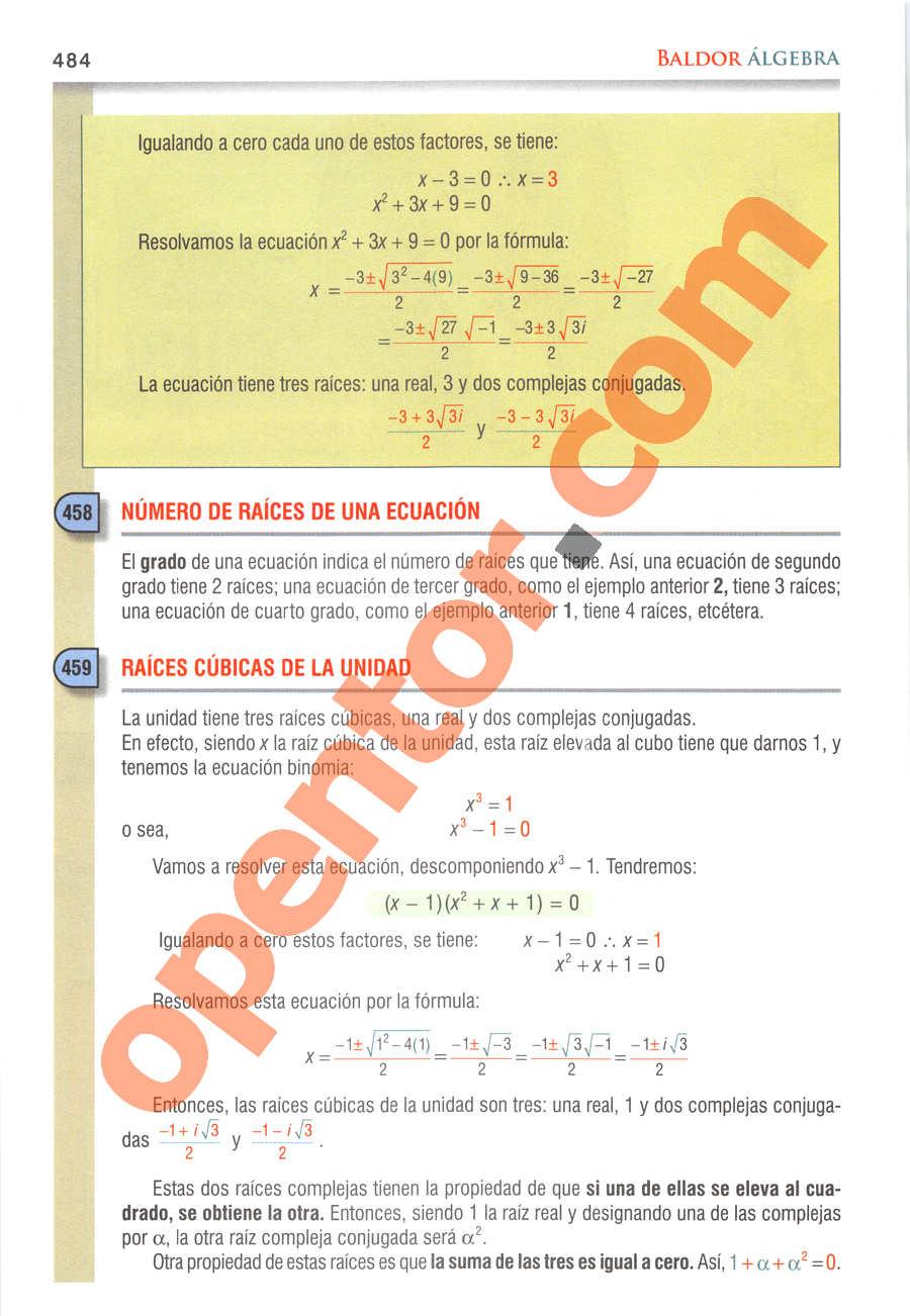 Álgebra de Baldor - Página 484