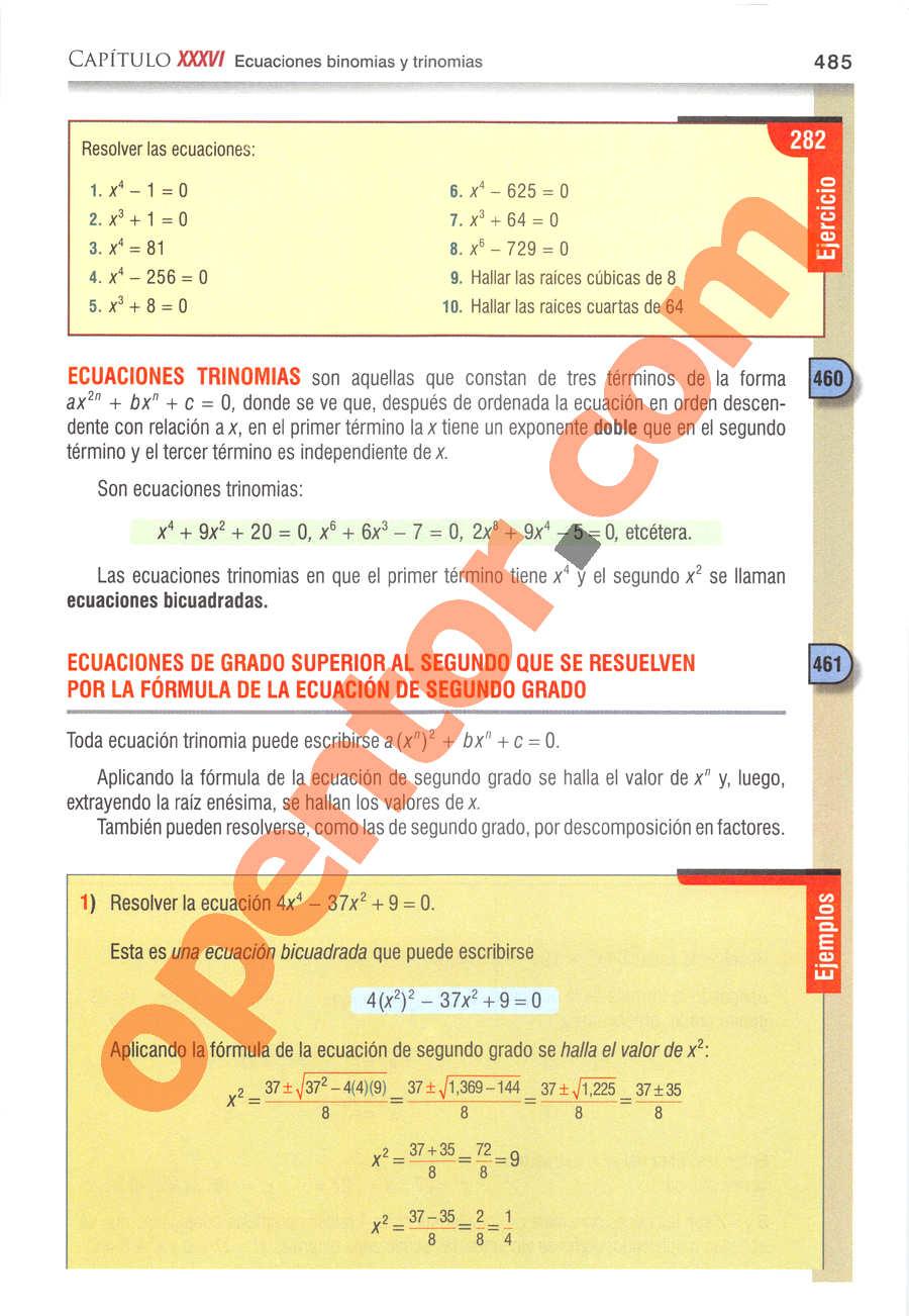 Álgebra de Baldor - Página 485