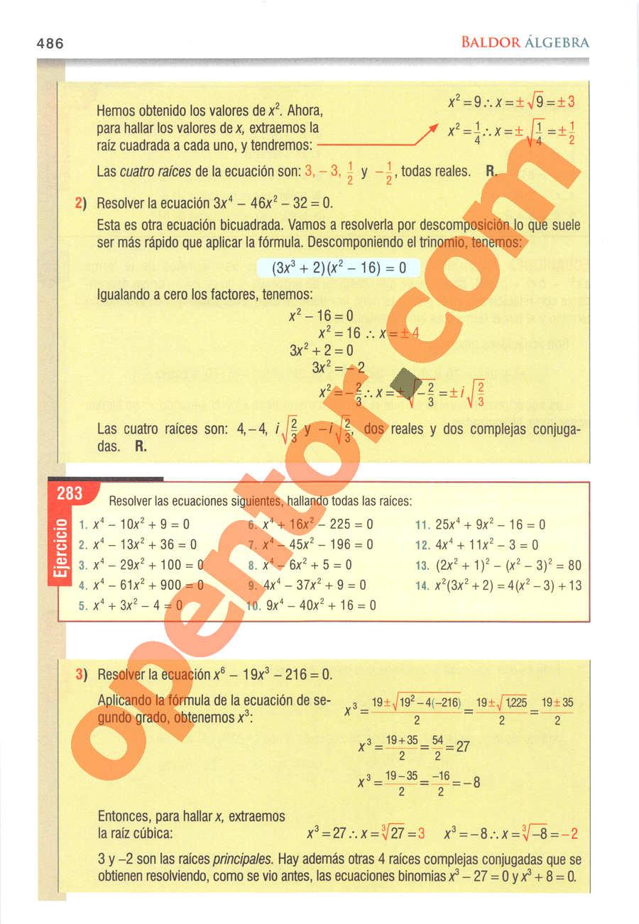 Álgebra de Baldor - Página 486