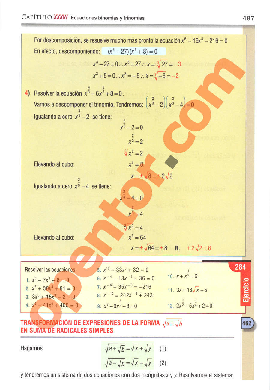Álgebra de Baldor - Página 487