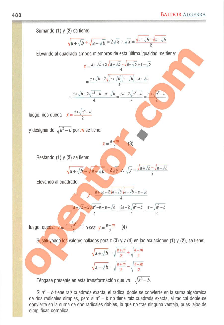 Álgebra de Baldor - Página 488