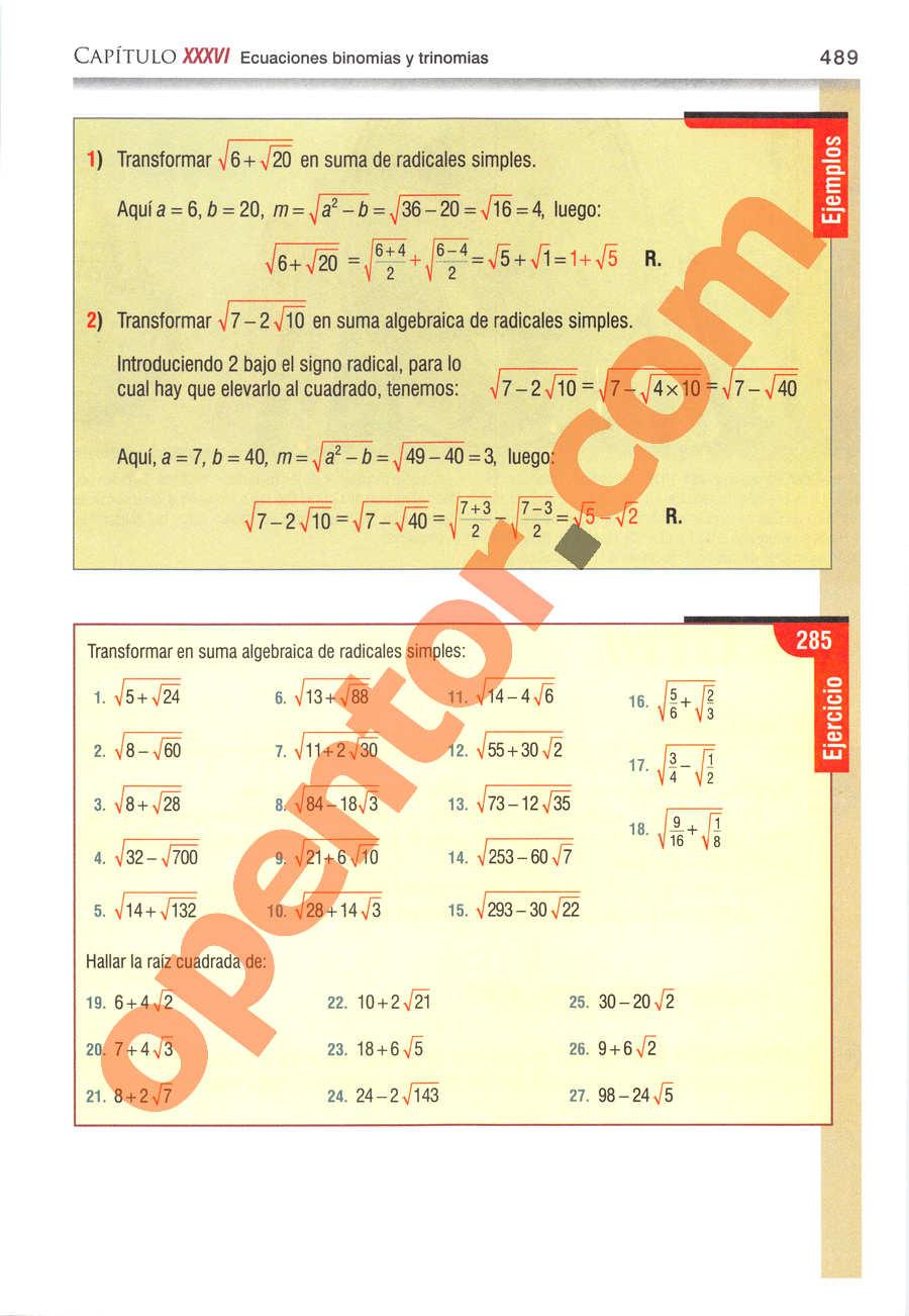 Álgebra de Baldor - Página 489