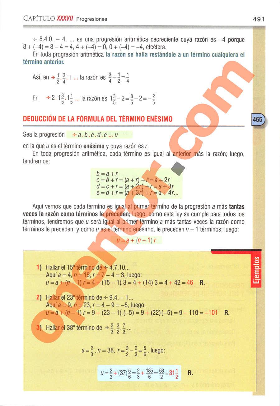 Álgebra de Baldor - Página 491