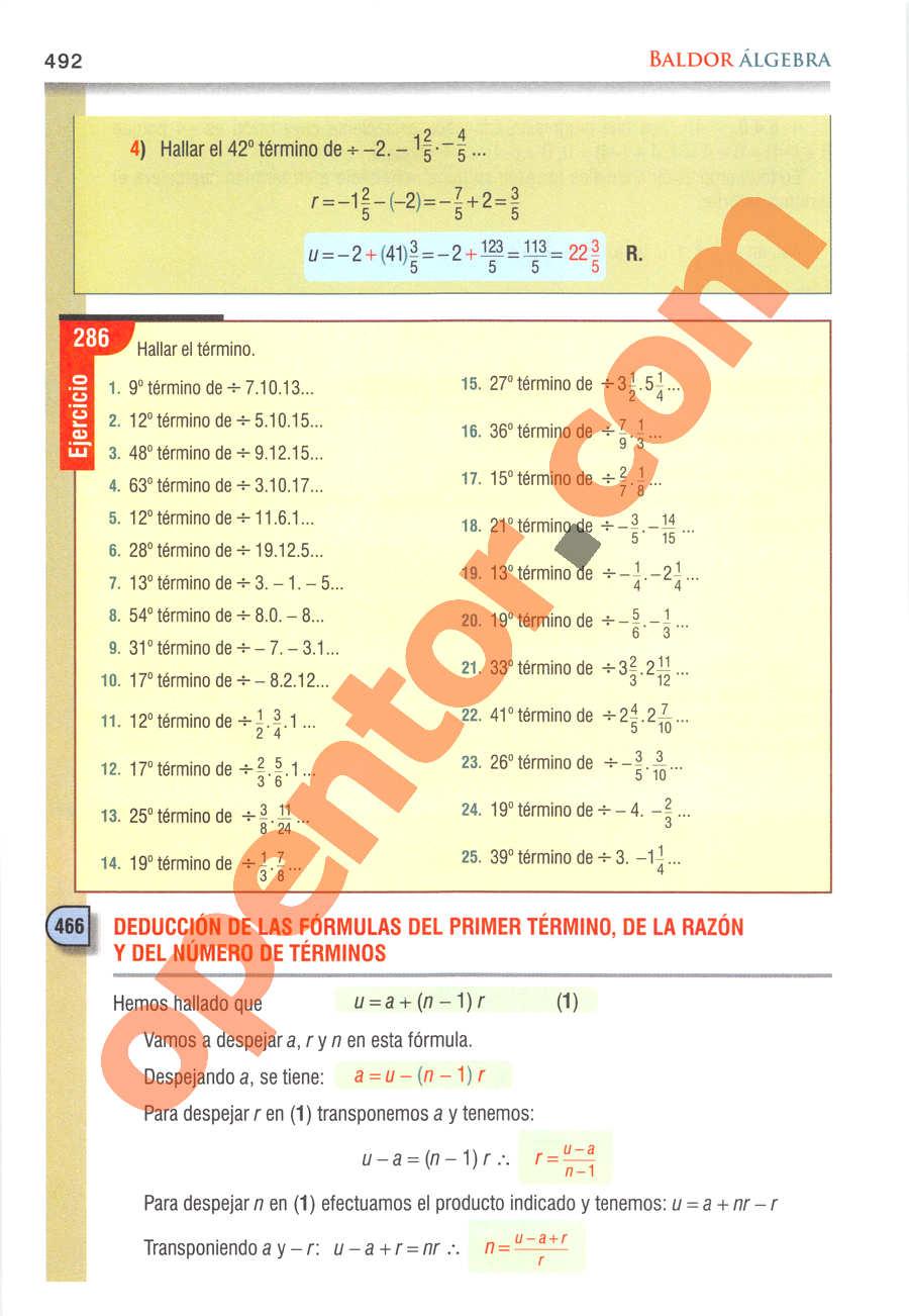 Álgebra de Baldor - Página 492