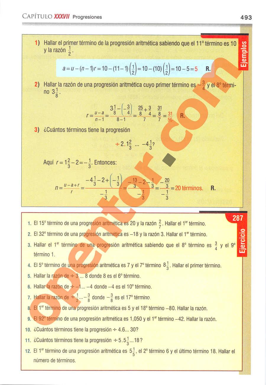 Álgebra de Baldor - Página 493