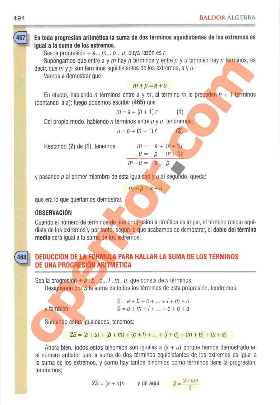 Álgebra de Baldor - Página 494