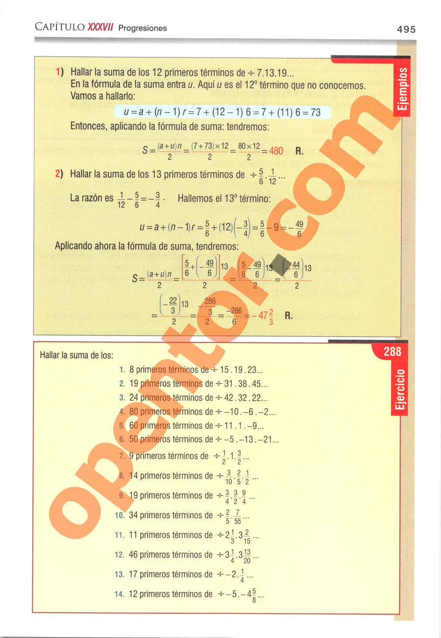 Álgebra de Baldor - Página 495