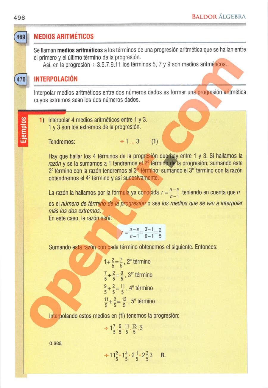 Álgebra de Baldor - Página 496
