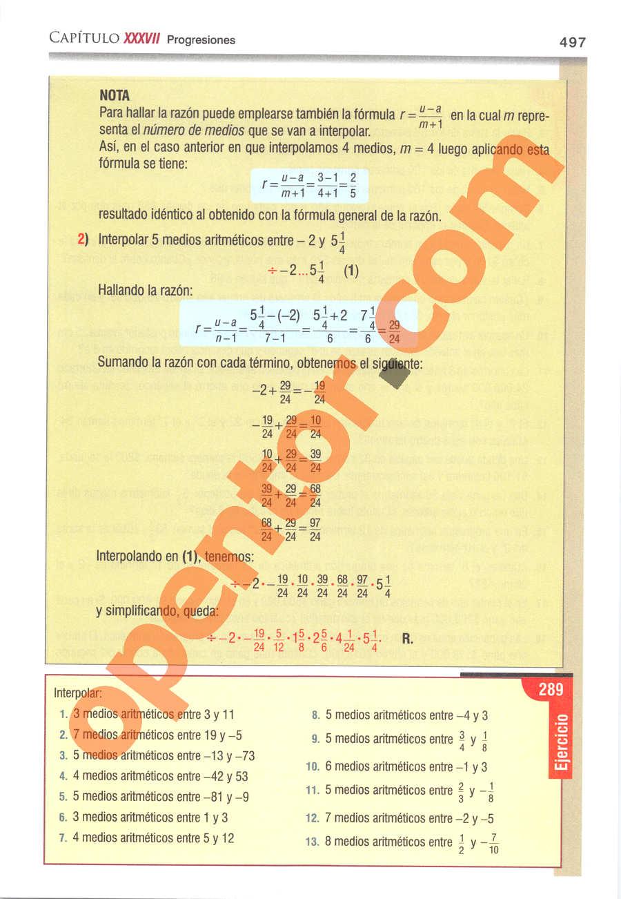 Álgebra de Baldor - Página 497