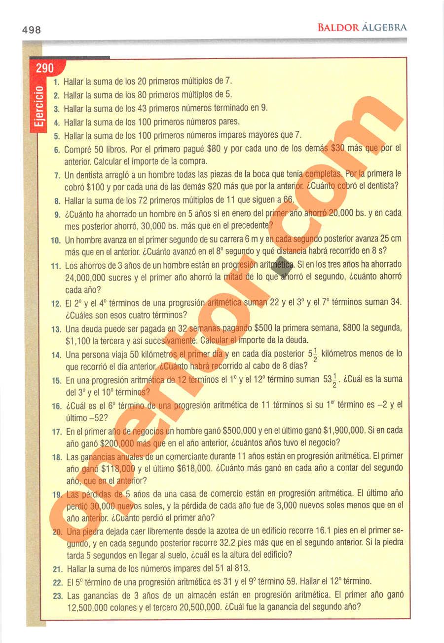 Álgebra de Baldor - Página 498