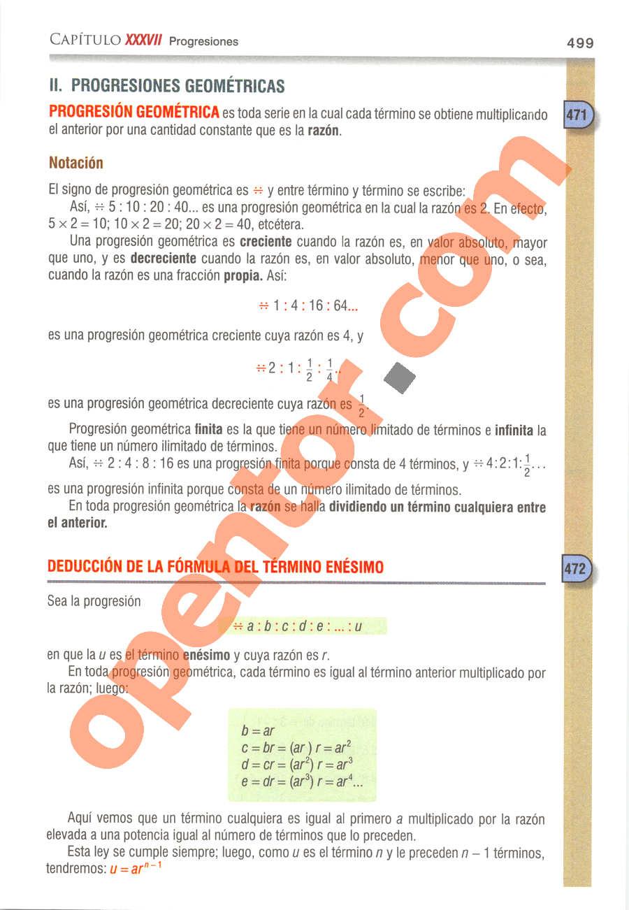 Álgebra de Baldor - Página 499