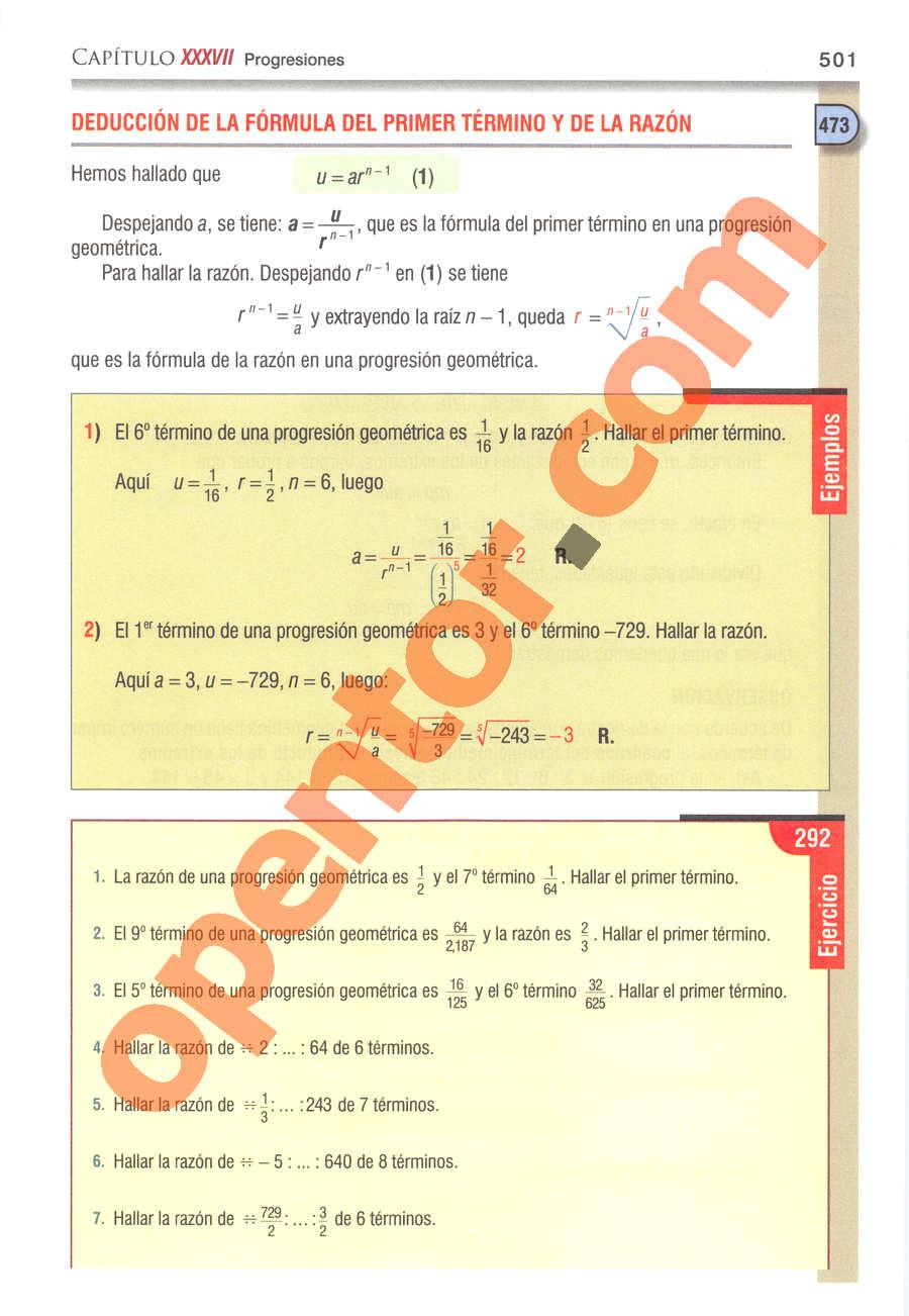 Álgebra de Baldor - Página 501