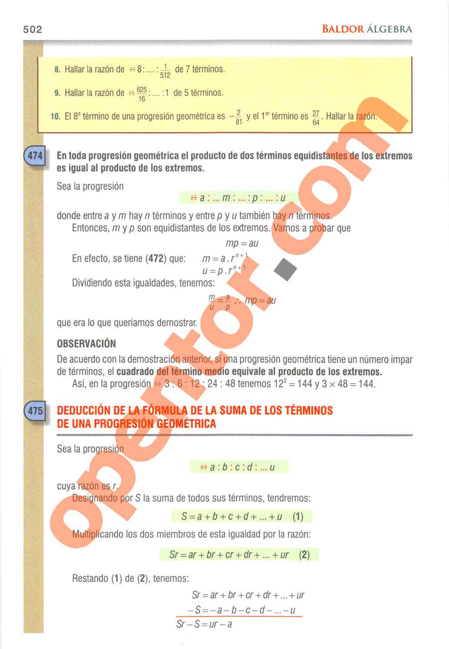 Álgebra de Baldor - Página 502