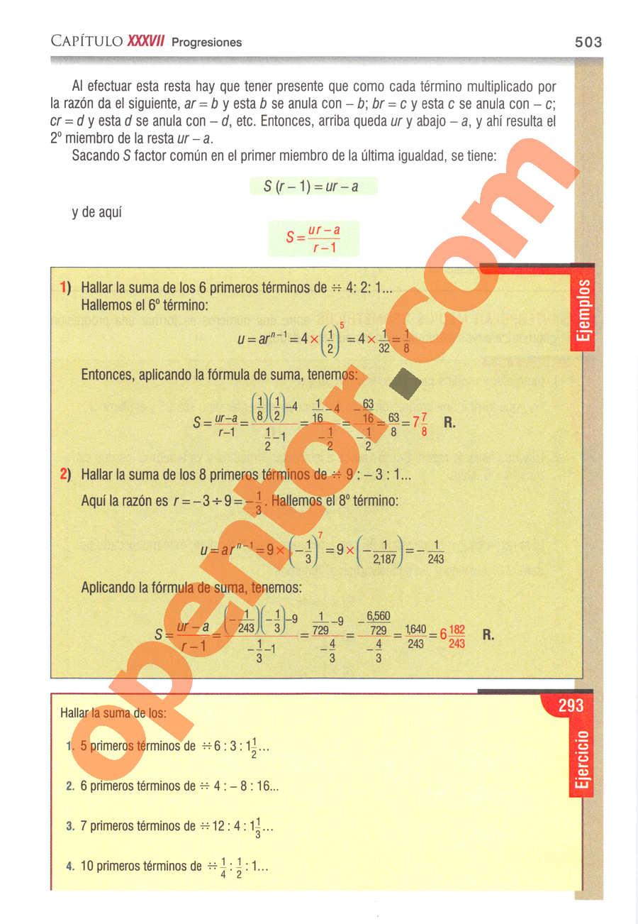 Álgebra de Baldor - Página 503