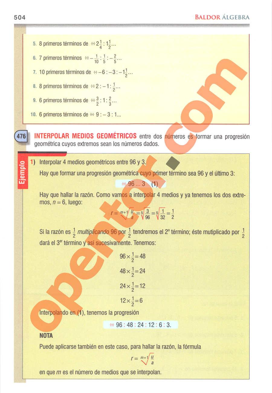 Álgebra de Baldor - Página 504