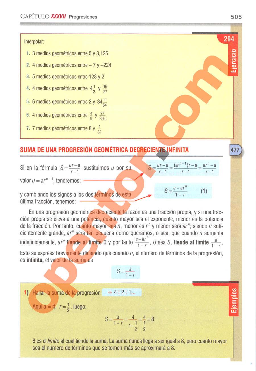 Álgebra de Baldor - Página 505
