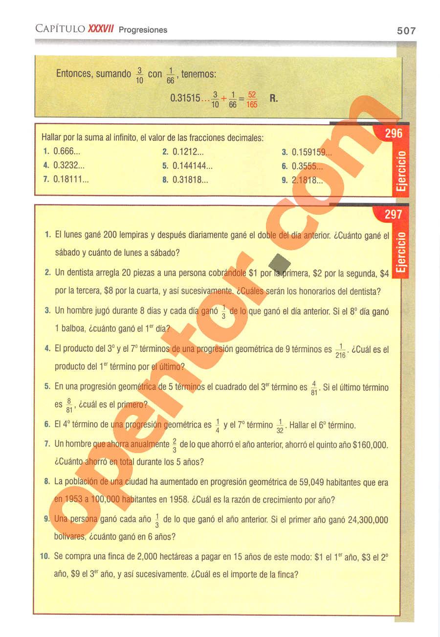 Álgebra de Baldor - Página 507