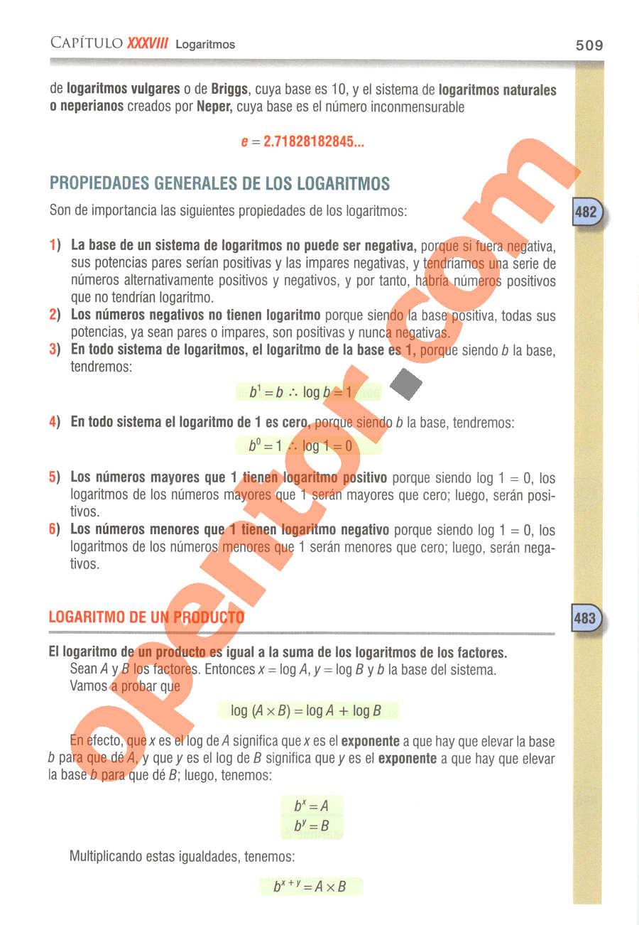 Álgebra de Baldor - Página 509