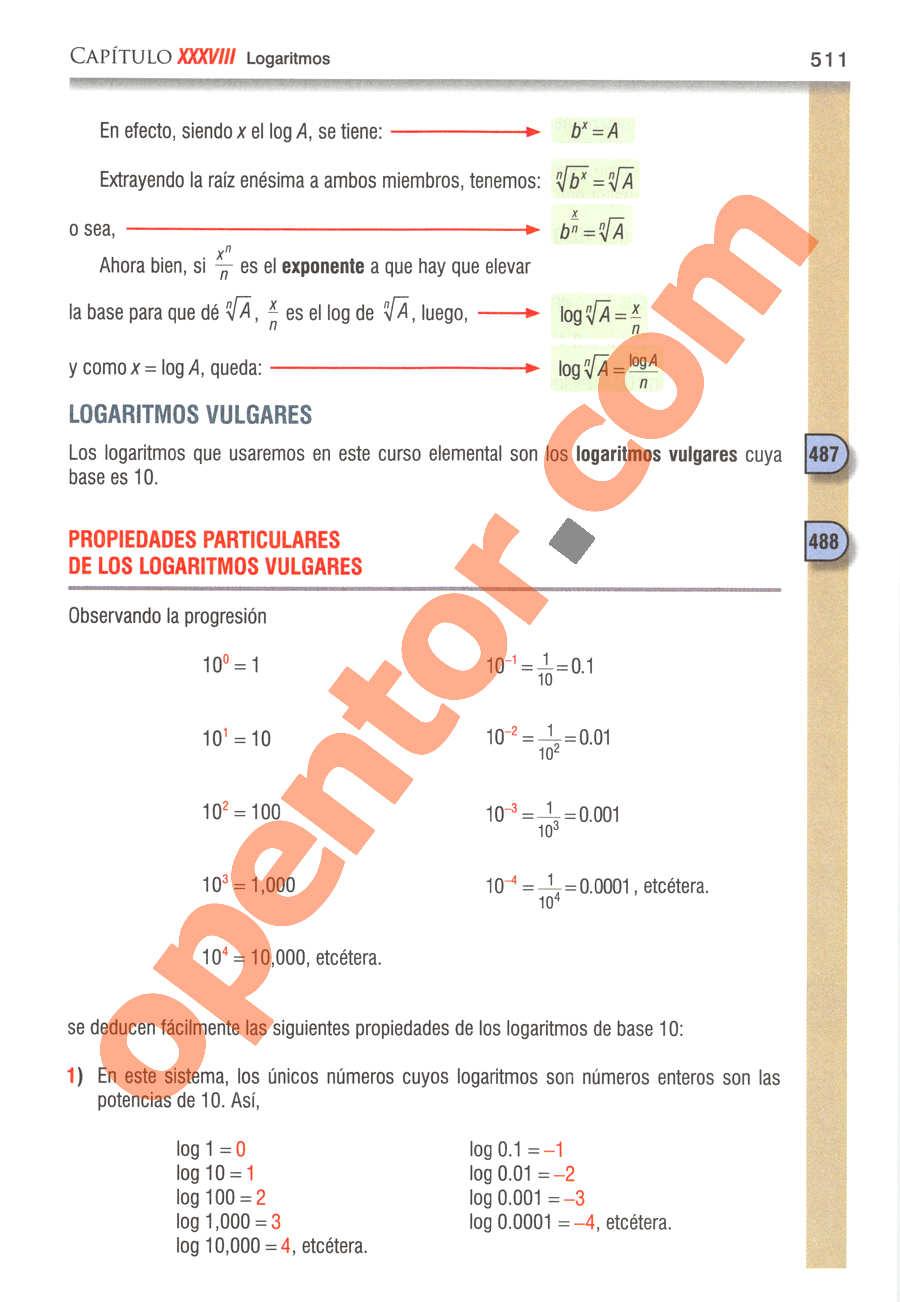 Álgebra de Baldor - Página 511