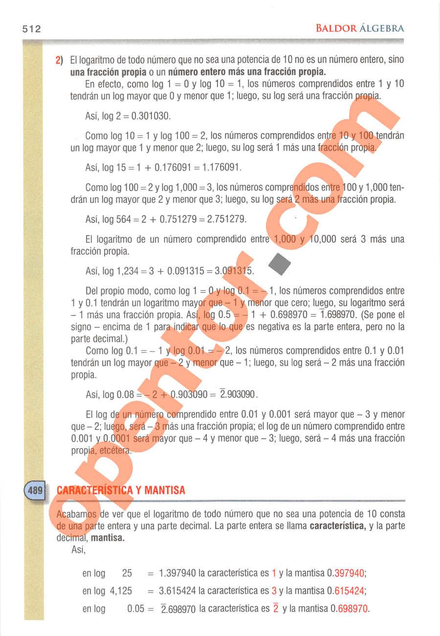 Álgebra de Baldor - Página 512