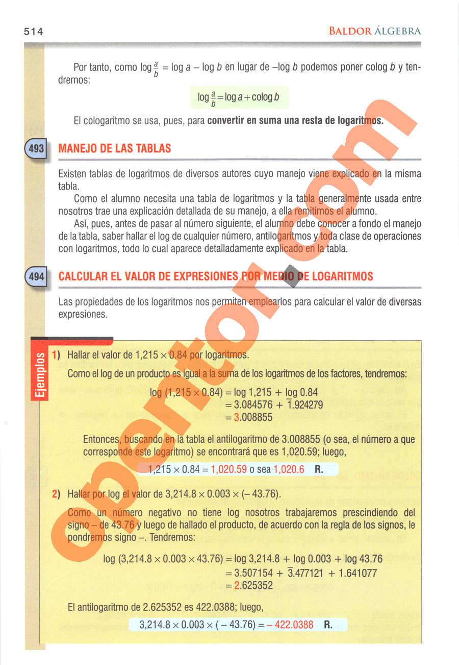 Álgebra de Baldor - Página 514