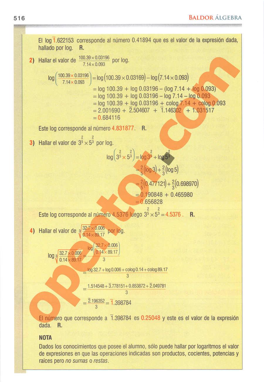 Álgebra de Baldor - Página 516