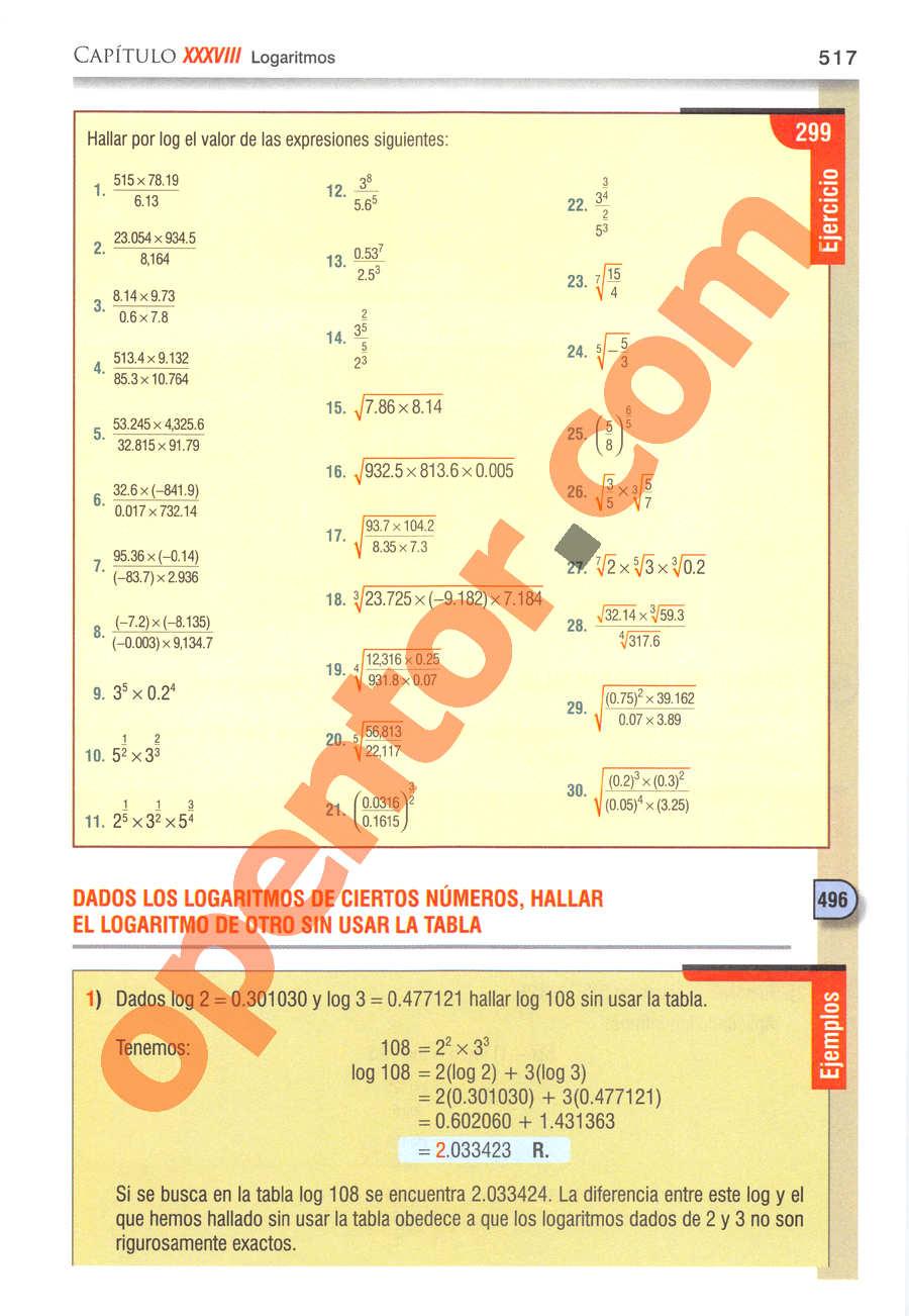 Álgebra de Baldor - Página 517