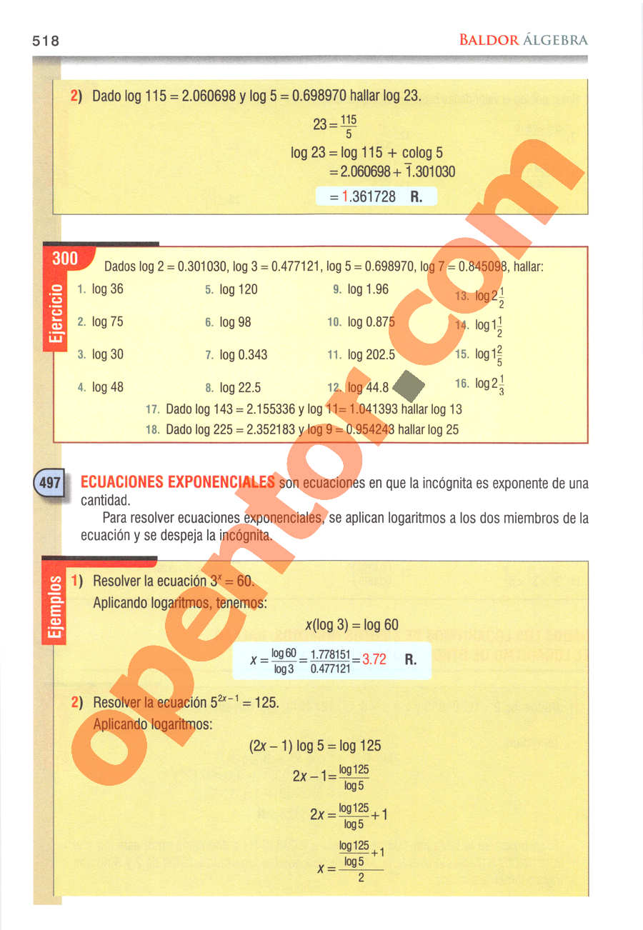Álgebra de Baldor - Página 518