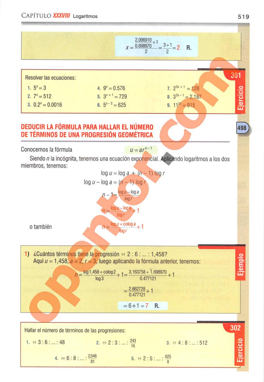 Álgebra de Baldor - Página 519