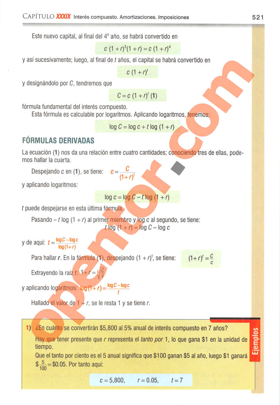 Álgebra de Baldor - Página 521
