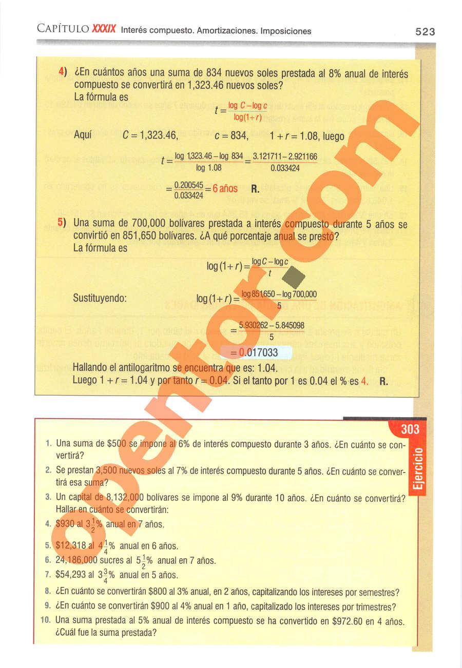 Álgebra de Baldor - Página 523