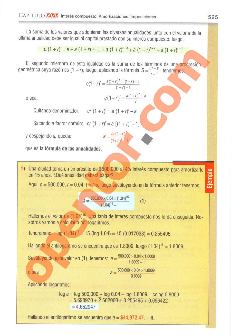Álgebra de Baldor - Página 525