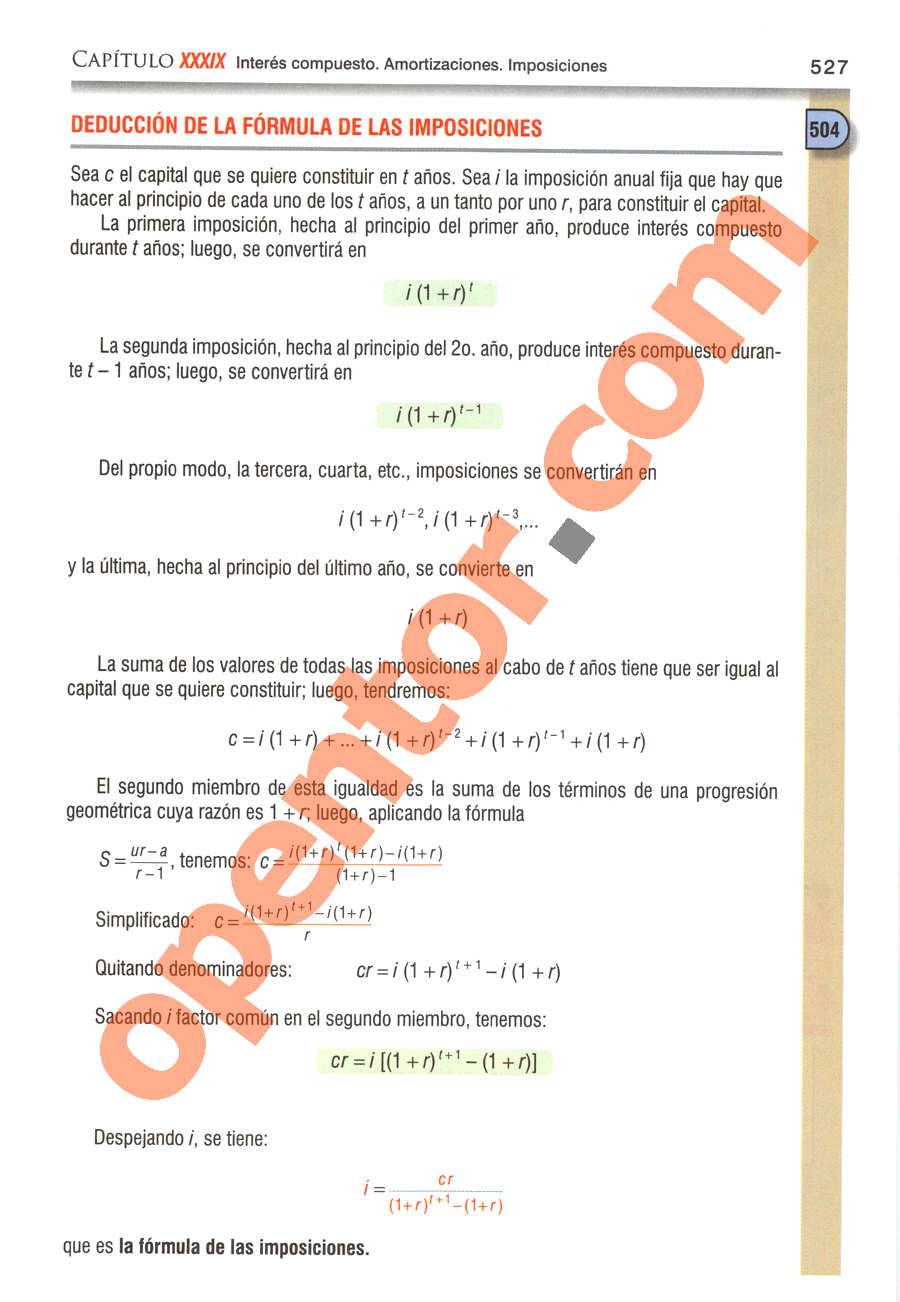 Álgebra de Baldor - Página 527
