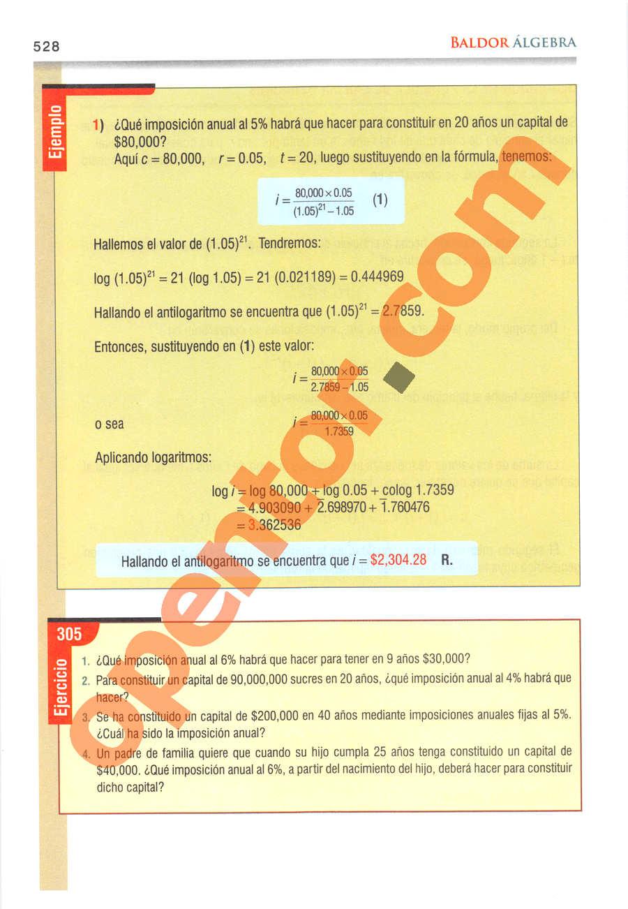 Álgebra de Baldor - Página 528
