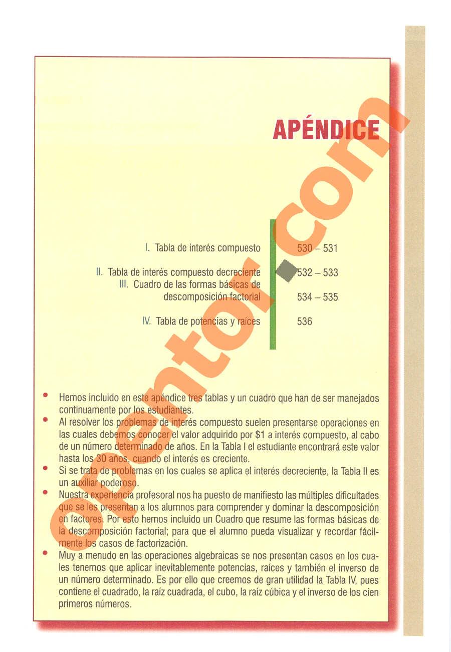 Álgebra de Baldor - Página 529