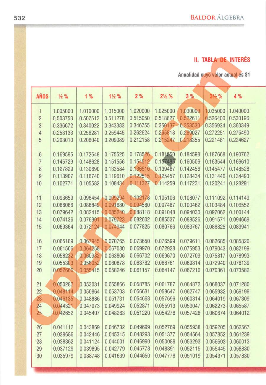 Álgebra de Baldor - Página 532