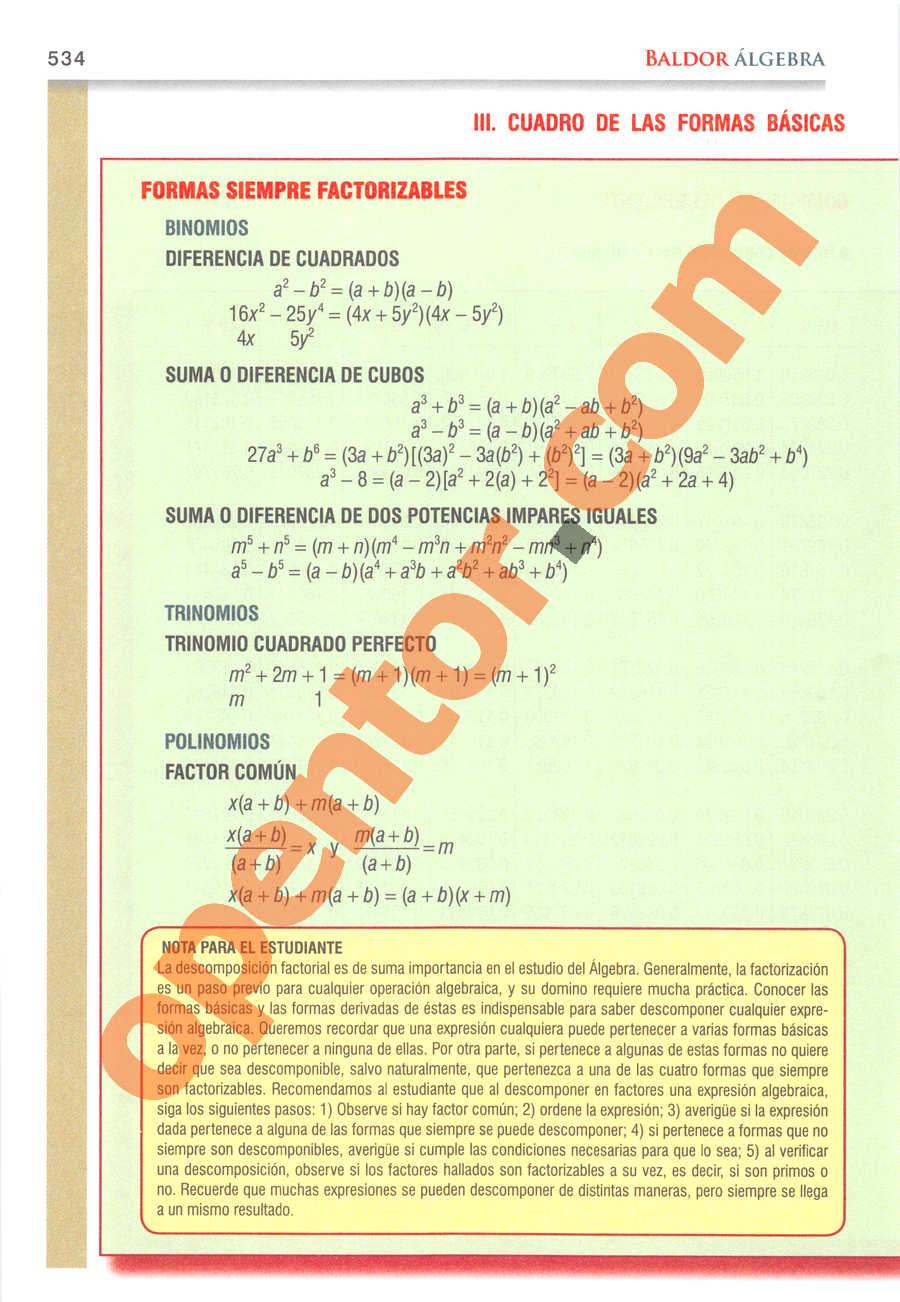Álgebra de Baldor - Página 534